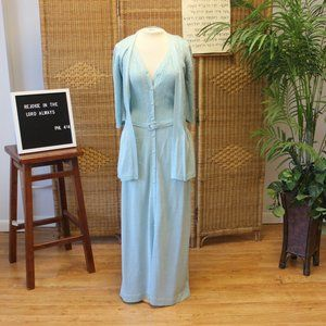 1970s Blue Metallic Knit Maxi Dress Sz S